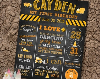 Construction Birthday Party Poster. Any Age. Construction First Birthday Poster. First Birthday Sign. Construction Birthday Party Supplies.