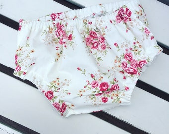 Baby Toddler Girl's bloomers pants knickers cotton red rose floral fabric vintage retro 0-3 months 3-6 months 6-12 months 12-24 months