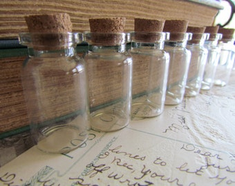 60 Glass Vials and Corks - BULK - 45x22mm - Ships IMMEDIATELY from California - BC70a