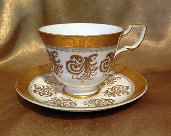 Vintage Tuscan Teacup and Saucer, Rare Tea Cup, Tuscan China