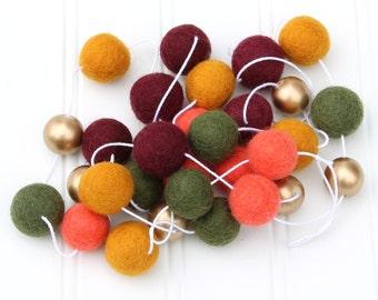 Autumn Felt Ball Garland with Gold Beads, Pom Pom Garland, Thanksgiving Decor, Bunting Banner, Fall Party Decor, Thanksgiving Garland
