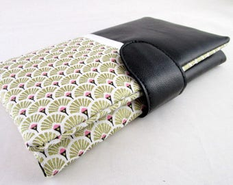 Wallet all in one black faux leather and fabric golden fan