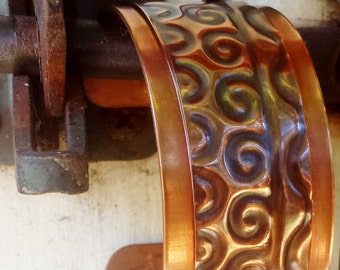 Copper Cuff Bracelet / Nordic / Hand made / Hand Forged / Antiqued / Flame Painted / Fire Painted