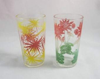 Vintage Federal Glass | Drinking Glasses Starburst and Lily Pad Designs | 2 Retro Mid Century Tumblers MCM | 8 oz Glasses | Red Yellow Green