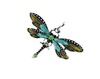 Dragonfly Pendant  ,  Peridot  Crystal Pendant , Silver Dragonfly Pendant
