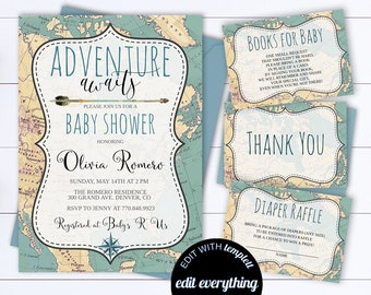 Adventure Awaits Baby Shower Invitation Template Travel Baby Shower Map Invitation Around The World Map Baby Shower Travel Invitation