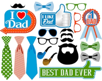 Father's day digital photo booth party props instant download