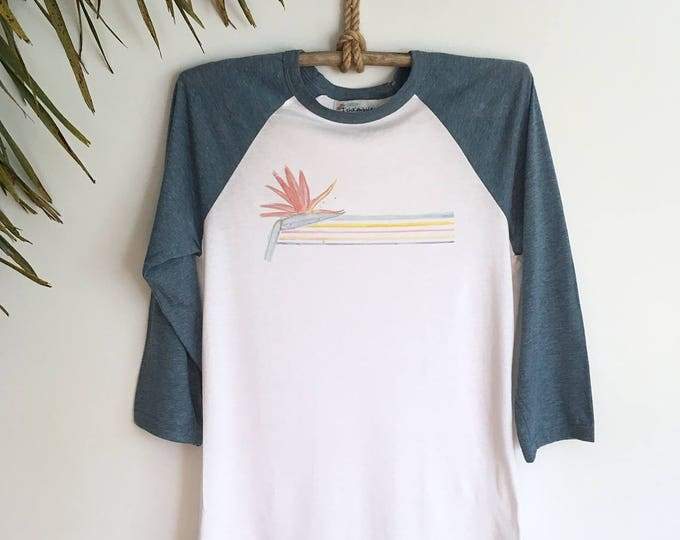 Vintage style tropical rainbow stripe top