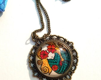 Mermaid Necklace Hand Drawn Pendant Floral Colorful Design Pop Culture Art Henna Mehndi Vintage Style Handmade Jewelry Happiness Symbolism