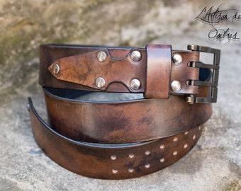 Belt 40mm single black antique