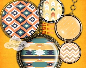 80% Off Spring Sale Aztec Digital Collage Sheet 12mm, 20 mm and 25 mm (1 Inch) Digital Images for Jewelry Making, Bottle Caps, Cufflinks, Sc