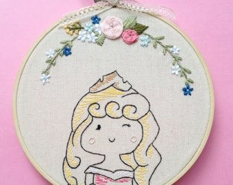 Princess embroidery hoop art