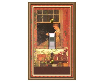 1588X - Young Girl at Window switchplate  - mrs butler switch plate covers -