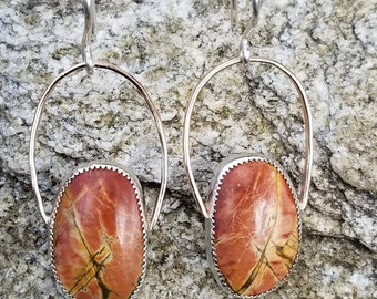 Cherry creek jasper, 14k rose gold filled, 925 sterling silver drop earrings