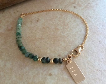 EMERALD Personalized Bracelet Gemstone Bracelet Best Friend Gift Emerald Jewelry Ombre Gold Bracelet Gift for Mom Bridesmaid Gift