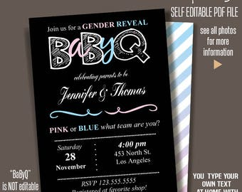 Editable Printable Gender Reveal Invitation BBQ party BaByQ Couples Shower Instant Download PDF File A480-506