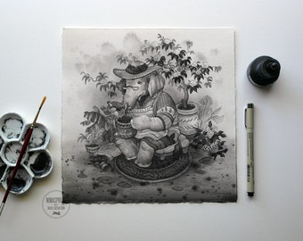Elephant - Original Painting by Nicole Gustafsson