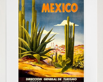 Mexico Travel Poster Mexican Art Print Retro (TR116)