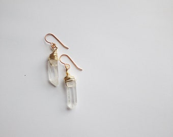 Quartz crystal earrings. Gold color wire wrapped crystal earrings.