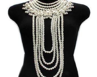 Ivory Pearl Multi-Strand Necklace Set