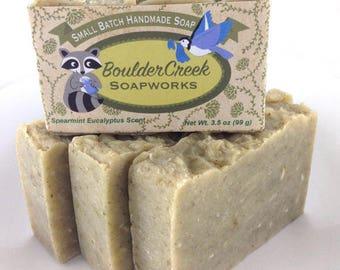Spearmint Eucalyptus Soap-Handmade Hot Process Soap #238