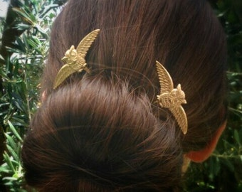 Owl Hair Pin Gold Owl Bobby Pins Brass Hair Pins Owl Hair Clips Woodland Wedding Hair Accessories
