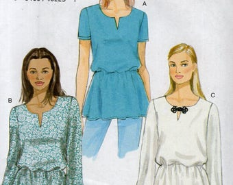 FREE US SHIP Vogue 9129 Sewing Pattern Top Blouse Pullover peplum Size 6/14 14/22 Bust 30 32 34 36 38 40 42 44 Uncut New
