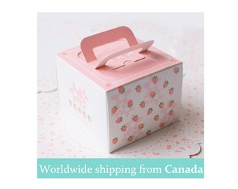 Pink Strawberry Cake Box with handles and Sliding Liner Tray
