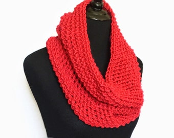 Red Crochet Scarf, Red Crochet Cowl, Cherry Red Infinity Scarf, Red Neck Warmer, Scarlet Crochet Scarf, Bright Red Snood Scarf