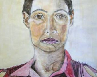 Watercolour portrait, anonymous woman, Krakow, East Europe, watercolour, graphite pencil, ball point pen, 250 gram paper.