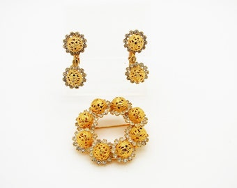 Elegant Vintage Hobe Gold Tone Filigree Bead and Rhinestone Brooch and Clip Earrings - Delizza & Elster?