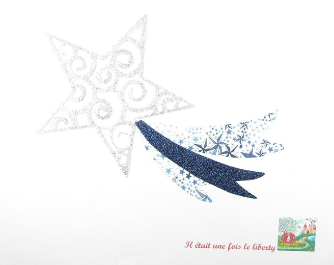 Applied fusible shooting star fabric liberty Adelajda flex glitter patch pattern fusible iron-on applique liberty coat