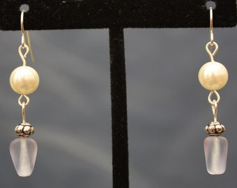 up-cycled purple, silver, and pearl bead earrings