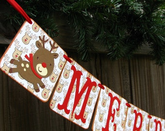 Merry Christmas Holiday Banner Decor Chipboard Banner
