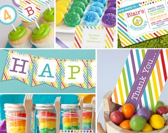 Rainbow Party /Candy Party Theme - Instantly Downloadable and Editable File - Personalize and Print at home with Adobe Reader