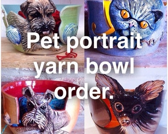 Pet portrait yarn bowl.