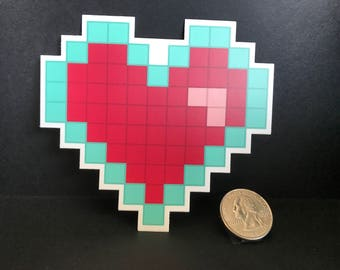 8bit Heart Vinyl Sticker