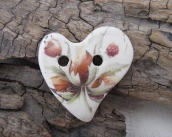 Hazelnut Cluster Folk Heart Ceramic Button