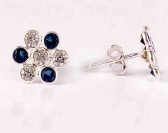 Blue and white zircon 92.5 sterling silver earring