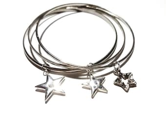 Vintage Silver 1970's Set of 3 Bangle Bracelets Stack with Floating Dangling Star Charms