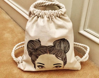 Quintosita Small Upgraded String Backpack with Lining, zippered and slip pockets - PDF Sewing Pattern