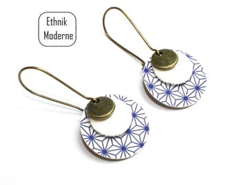 Earrings Asian blue and white print