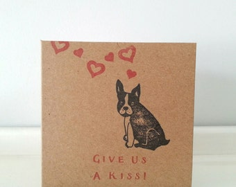"""French Bulldog Card: Frenchie 'Give Us A Kiss' Kraft Card, 4"""" x 4"""" Square. Choose Your Message."""