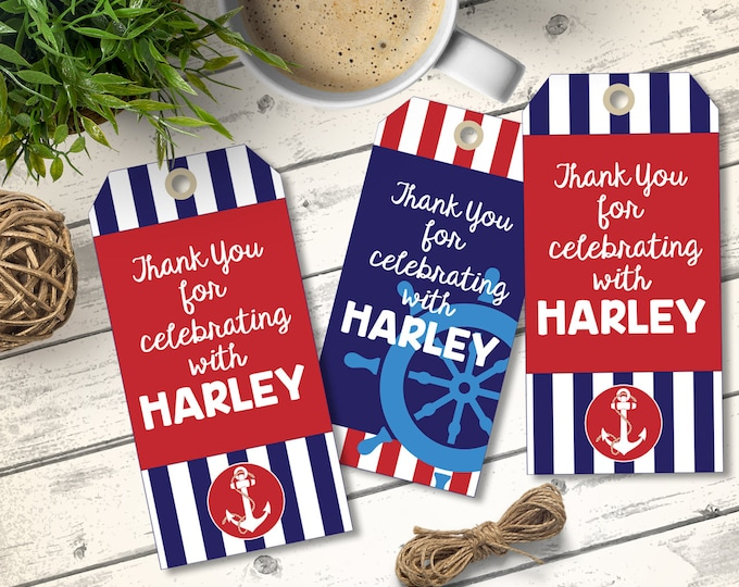 Nautical Favor Tags - Nautical Party, Thank You Tag, 1st Birthday, Sailor Party, Nautical Birthday,  | DIY Instant Download PDF Printable