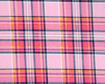 Deep Navy, pink, and gray Plaid Cotton Spandex Blend Knit