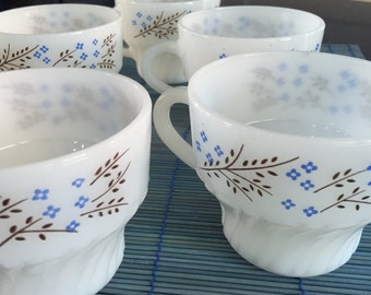 Vintage Termocrisa Milk Glass Coffee Cups or Tea Cups - Set of 5 - Made in Mexico