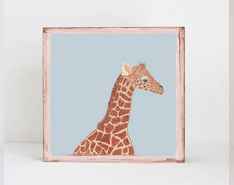 giraffe, safari nursery art, jungle nursery art- baby boy,  safari nursery prints, jungle nursery decor-  playroom- giraffe  redtilestudio
