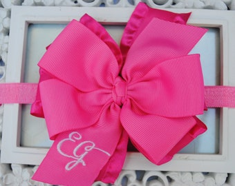 Hot Pink Baby Headband Bright Pink Baby Headband Double Stacked Bow Large Hair Bow Infant Headbands Hair Bows for Girls Monogram Baby Bows