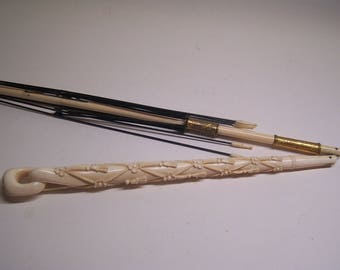 antique victorian hand carved bone folding umbrella, parasol