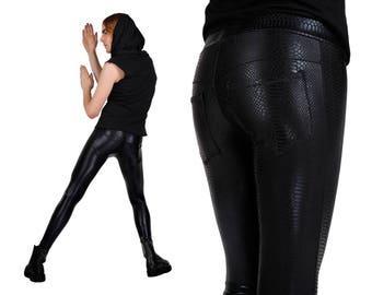 Mens Leggings in Black Snake Print w. Jeans Back, Meggings, Men Festival Clothes, EDC Gear, Rave Outfit, Mens Burning Man, by LENA QUIST